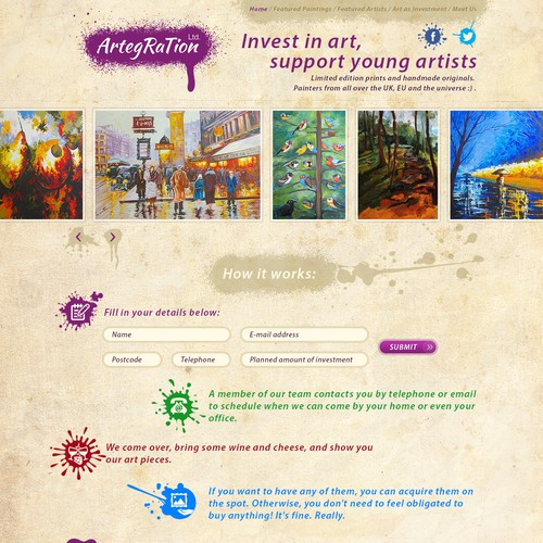 Landing page for selling artworks