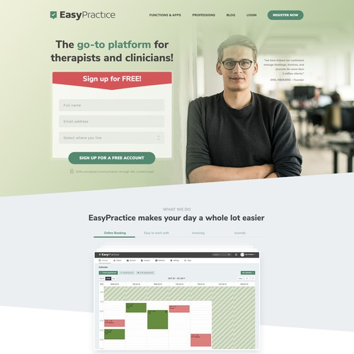 Home page redesign of an online platform