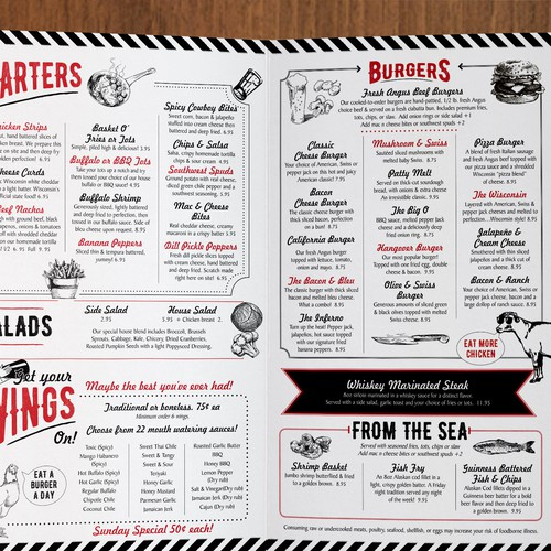 Retro style menu for casual eatery