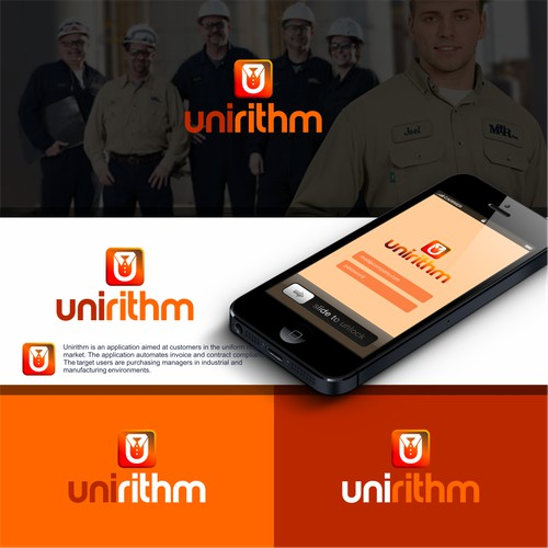 Create a modern, low-key logo for Unirithm; a tech startup.