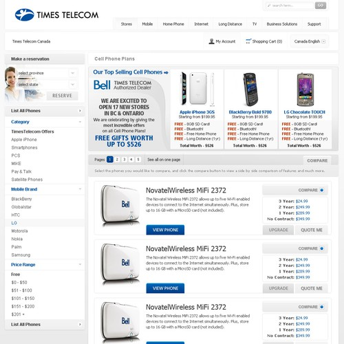 Professional/Ecommerce Design needed for a Telecom's Website!