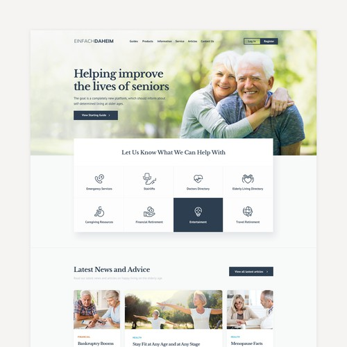 Home page for a elderly resources portal .