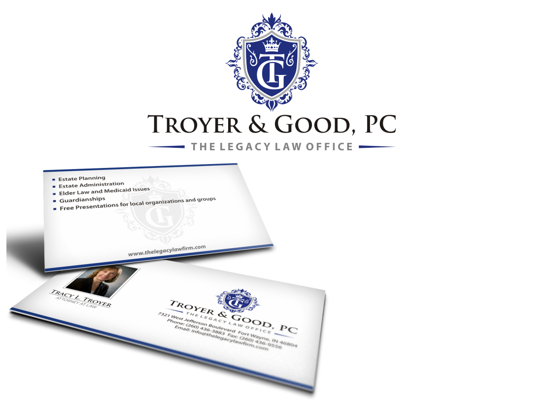 Create the next logo and business card for Troyer & Good, PC