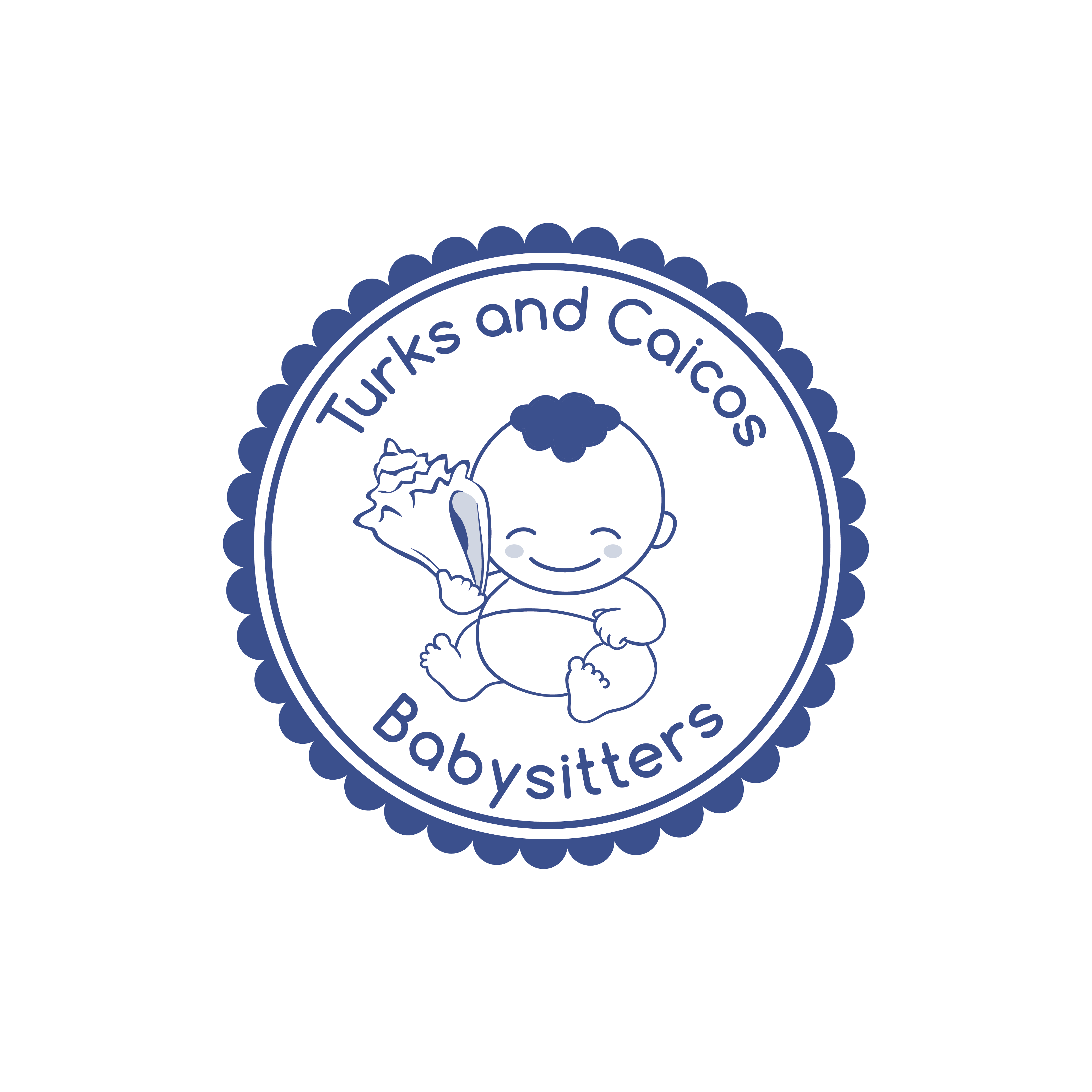 Create a logo of a baby holding a conch shell.