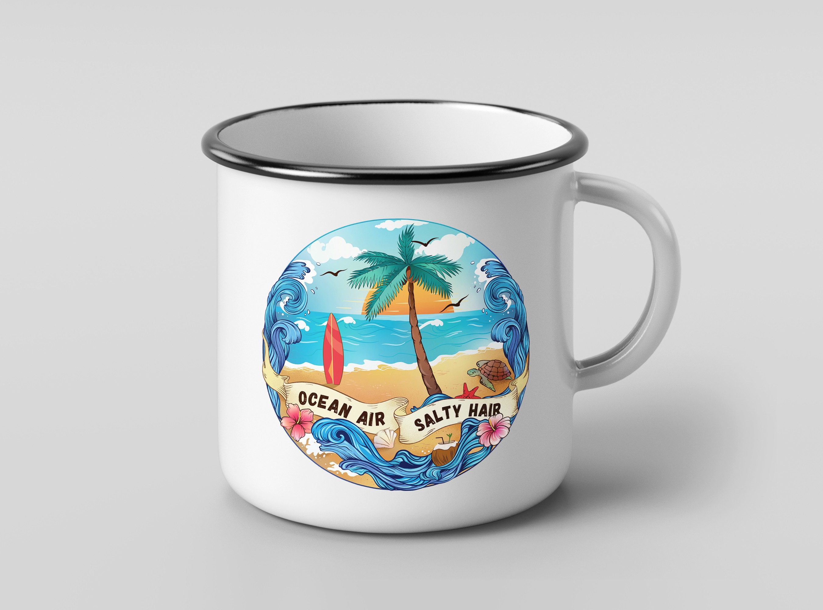 Beach themed ceramic cup drawing