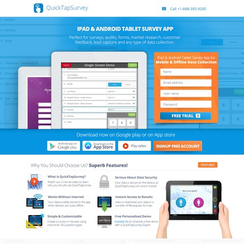 Create a high converting landing page for QuickTapSurvey