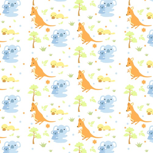 Australian animal design for fabric to be used on babies