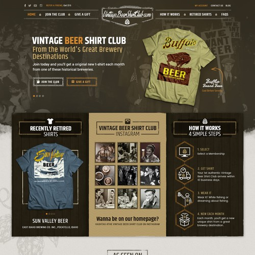 Website Design for Vintage Beer Shirt Club