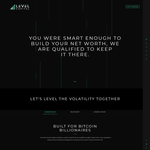 Dark Theme Website Design for Level Capital