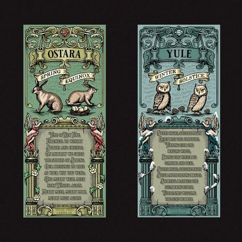 Ostara and Yule Candle label