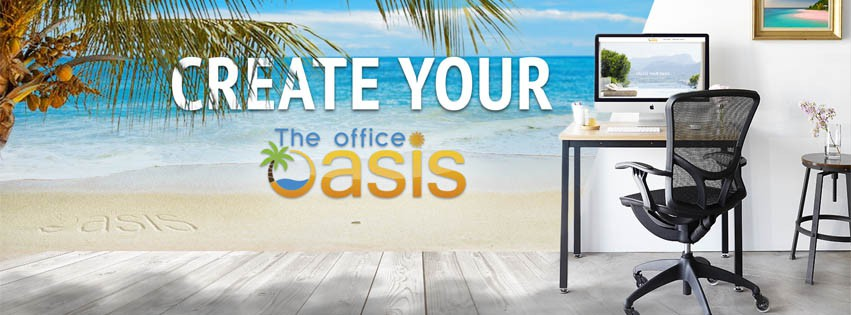 Create captivating Facebook cover for 'The Office Oasis' physical products brand