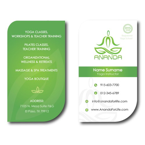 Ananda Yoga Pilates Business Card
