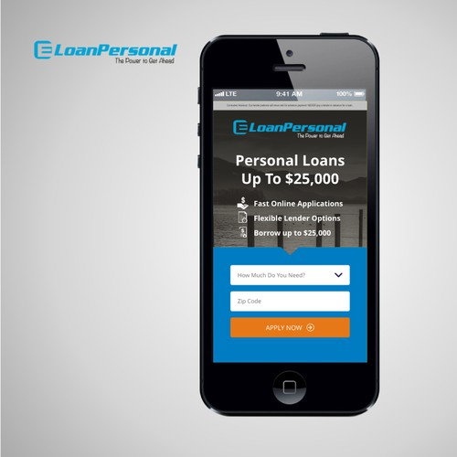 MOBILE landing page for a loan website