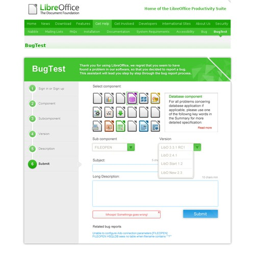 LibreOffice bug submssion dialog