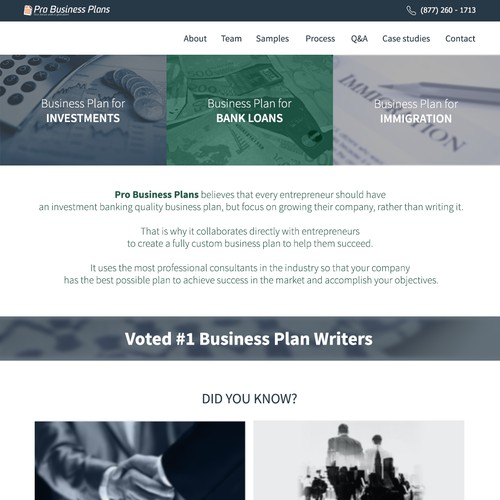Re-Design Home Page of Pro Business Plans