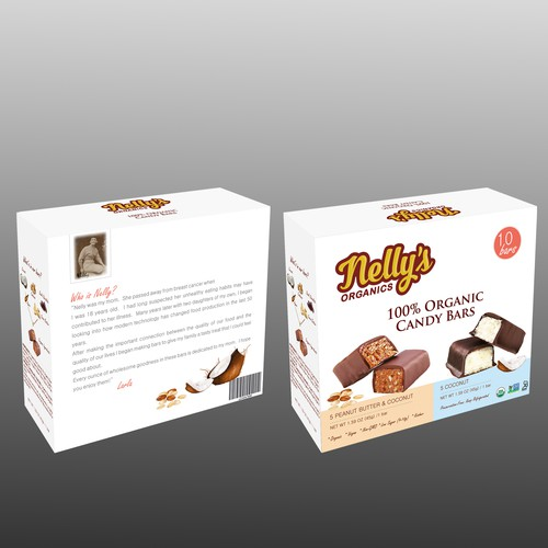 Design us a KICK-ASS package for NELLY'S Organic Candy Bars!