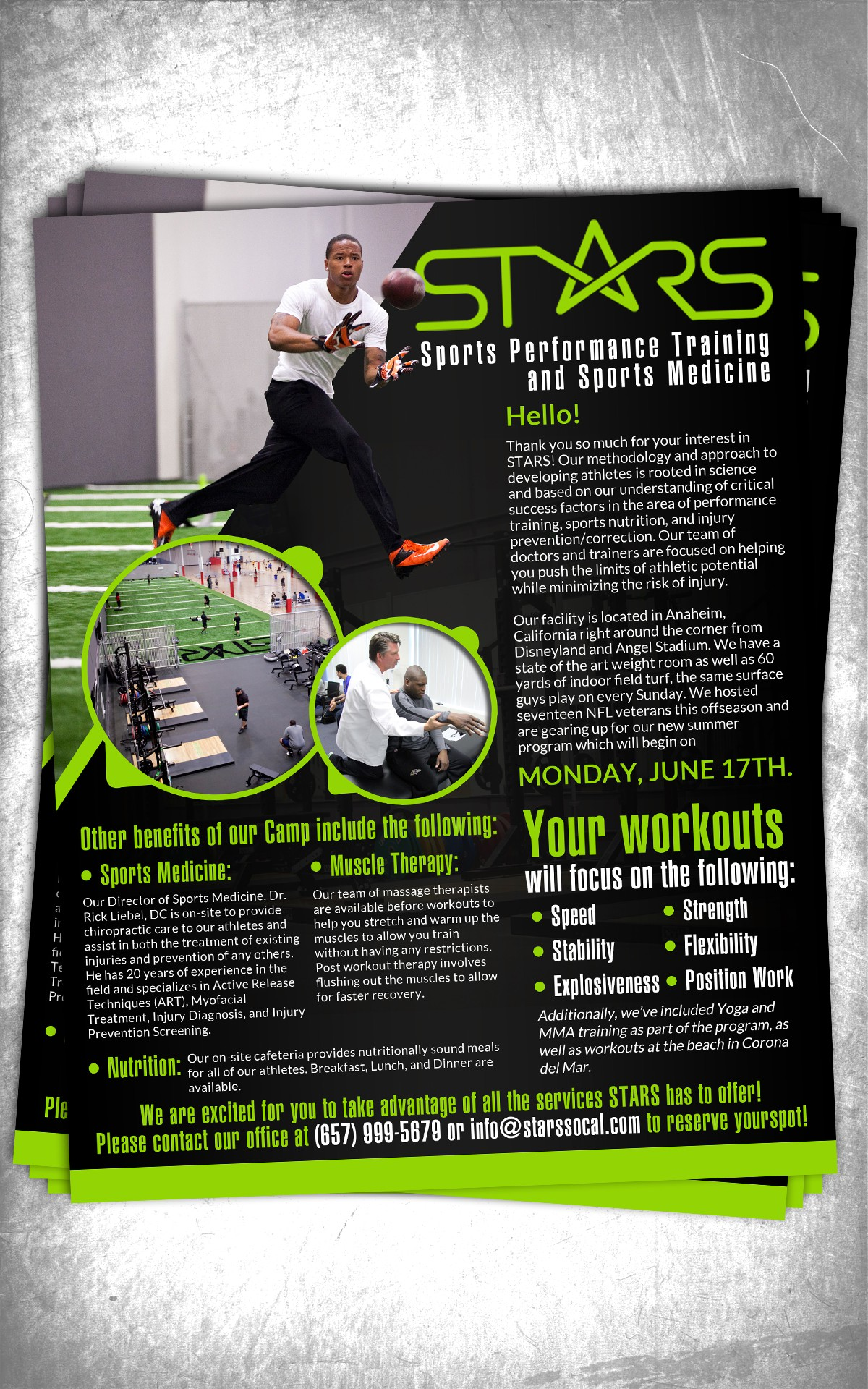 Flyer/Letter to NFL Players for off-season training at STARS
