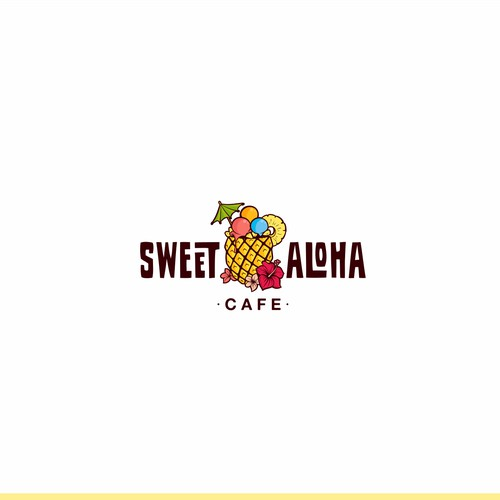 Bold tropical logo for a shave ice cafe