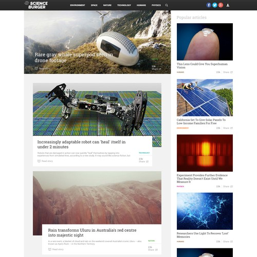 Modern blog design for science news portal
