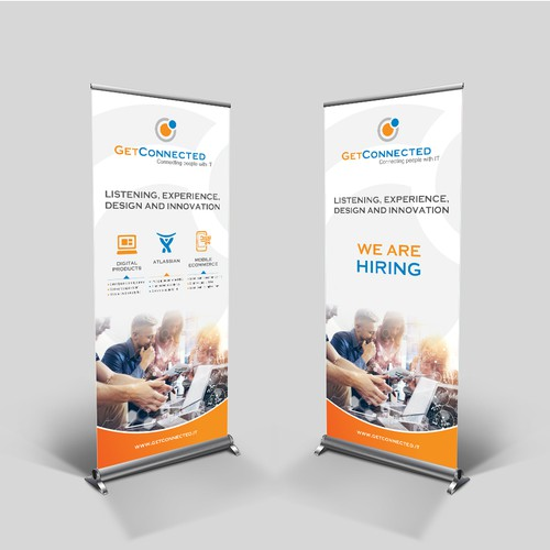 Roll-up banner for a conference