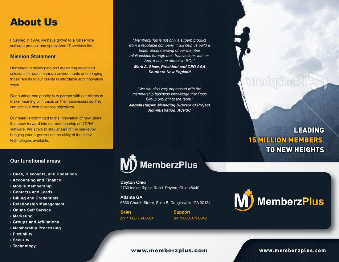 Create the next brochure design for MemberzPlus - A Division of Ross Group Inc