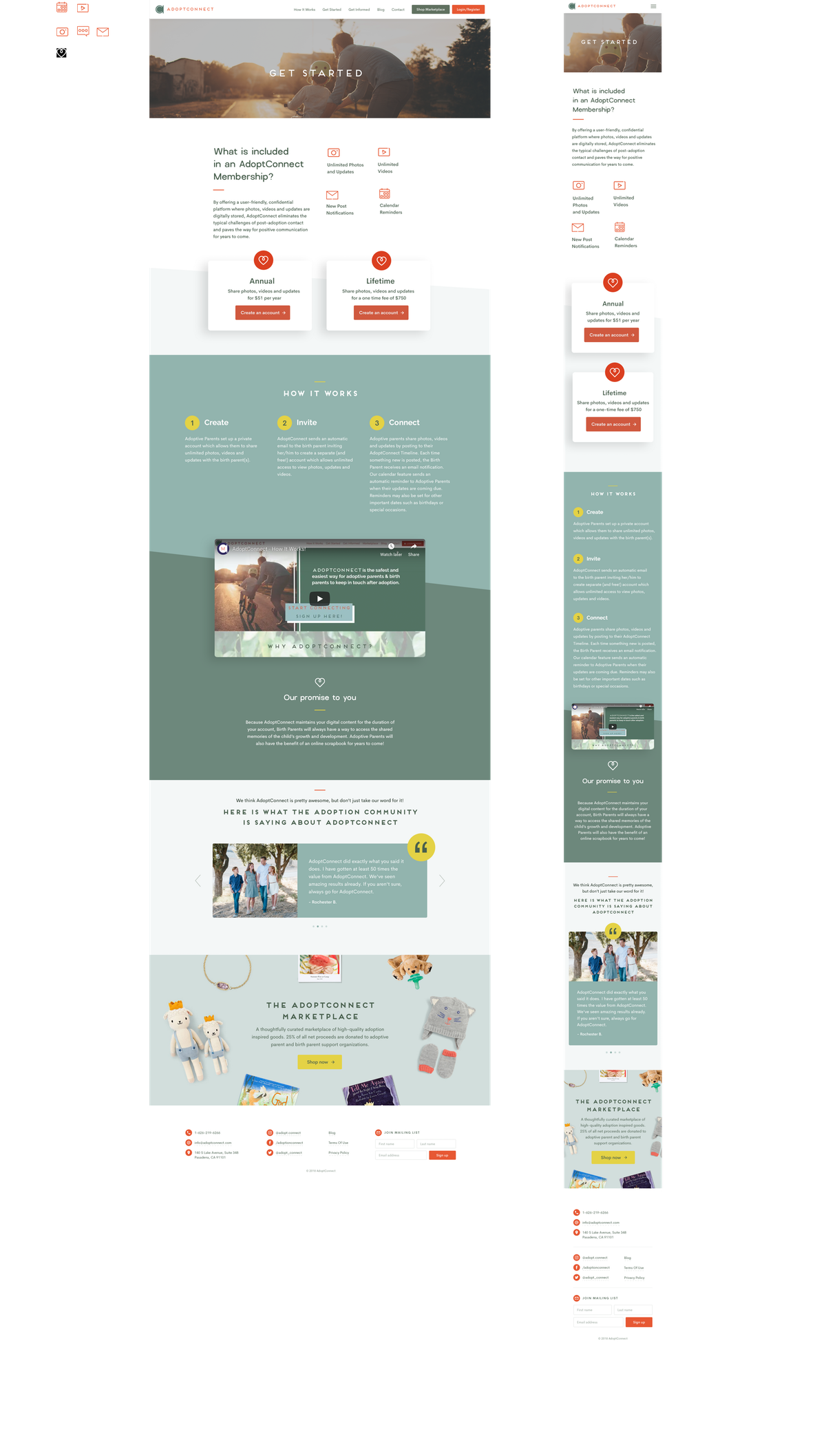 """AdoptConnect """"Get Started"""" Page"""