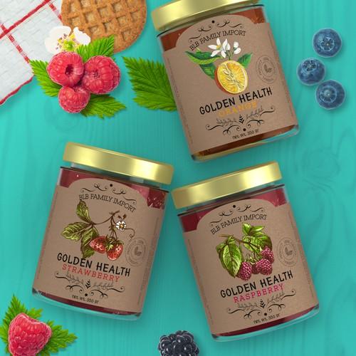 On craft paper natural jam label design