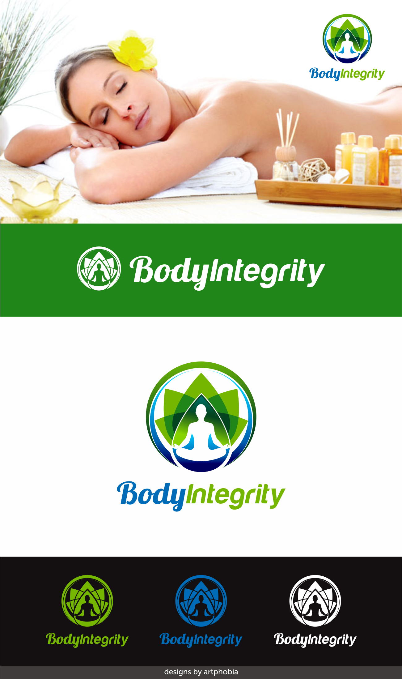 Create a logo for Body Integrity therapeutic massage (website potentially needed)