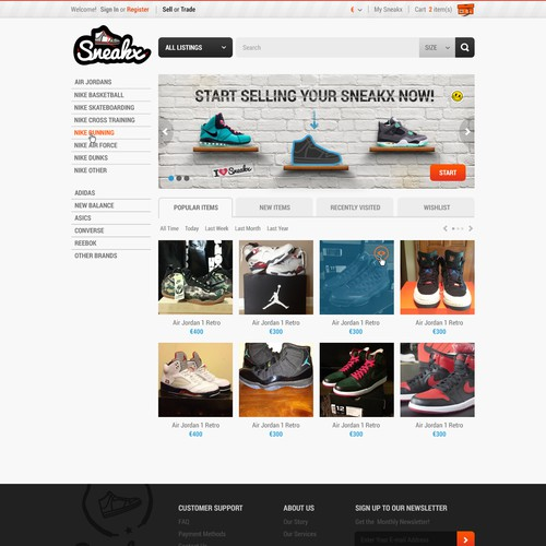 Create a winning auction/trade website for sneaker collectors