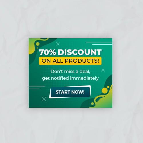 70% sale discount banner