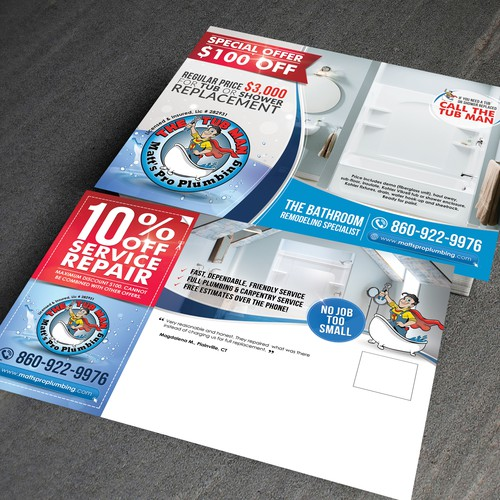 """Creative mailer design for """"THE TUB MAN"""""""