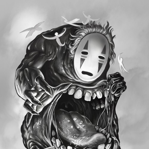 No face black and grey tattoo design