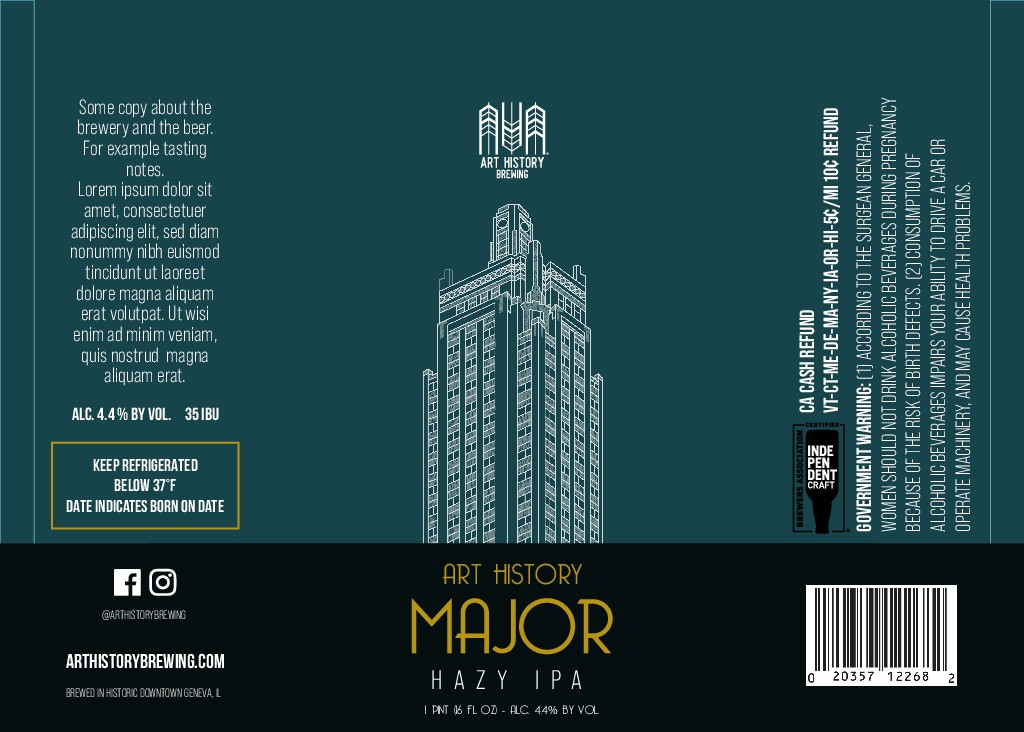 Art History Brewing - Bold & Simple: Craft Beer Can Label Template Design