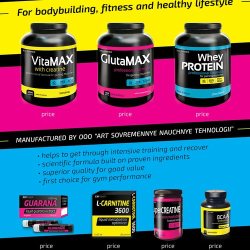 Eye-catching flyer for a sport nutrition product line in a minimalism style