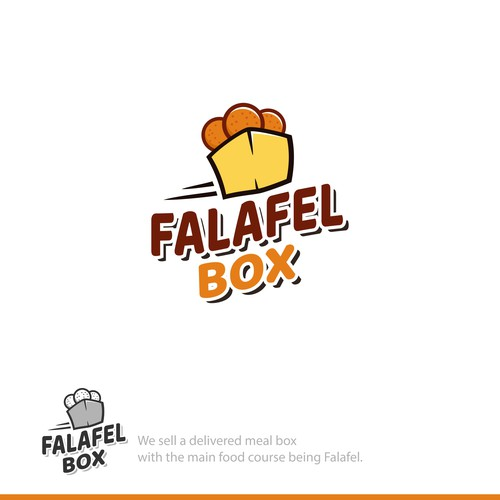 Playful logo concept for falafel box.