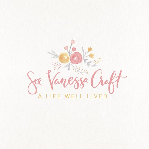 Feminine hand painted logo for a blog
