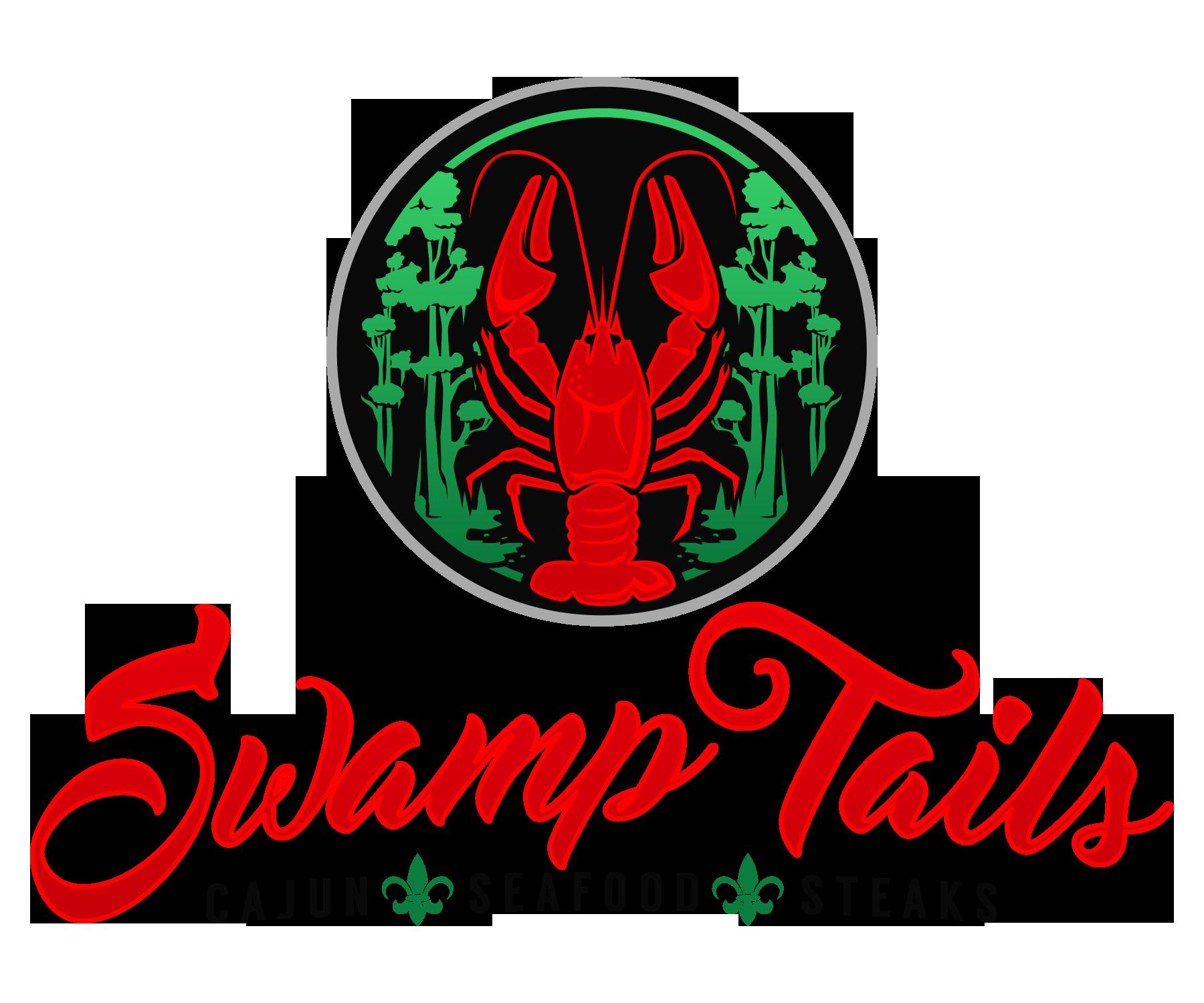 Create a fun, intriguing logo for a new Cajun, Seafood, & Steak restaurant called SwampTails