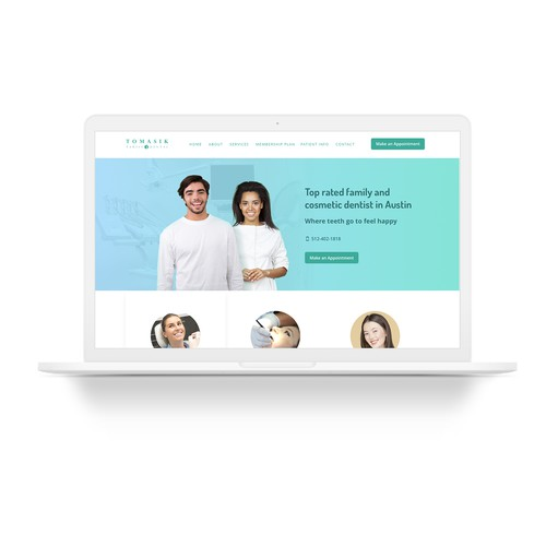 Website homepage for dentist office.