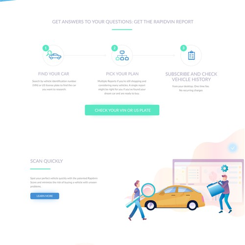 Car report landing page design