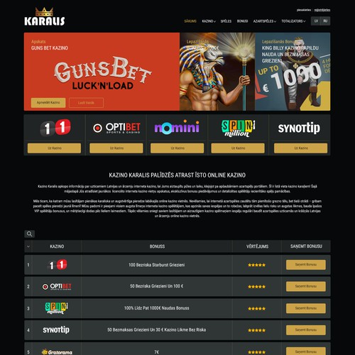 Home Page Design for Latvian Casino Players
