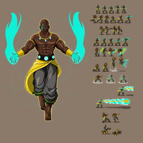 African character sprite sheet for 2D fight games