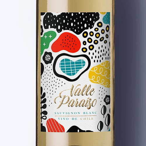 Floral label for Chilean Wine