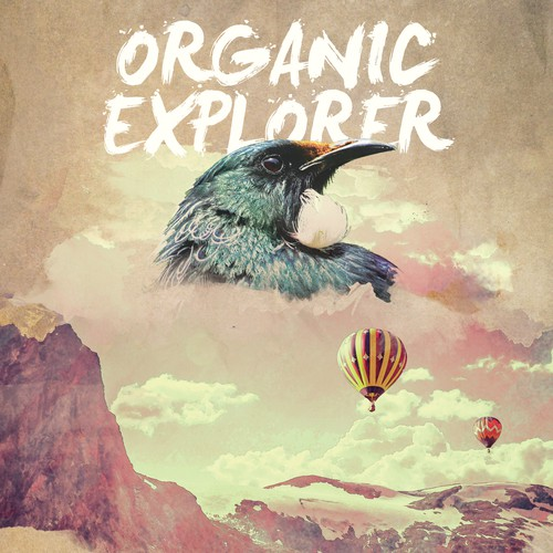 Create a magazine cover for Organic Explorer New Zealand Eco-Traveler Journal that's going to fly.