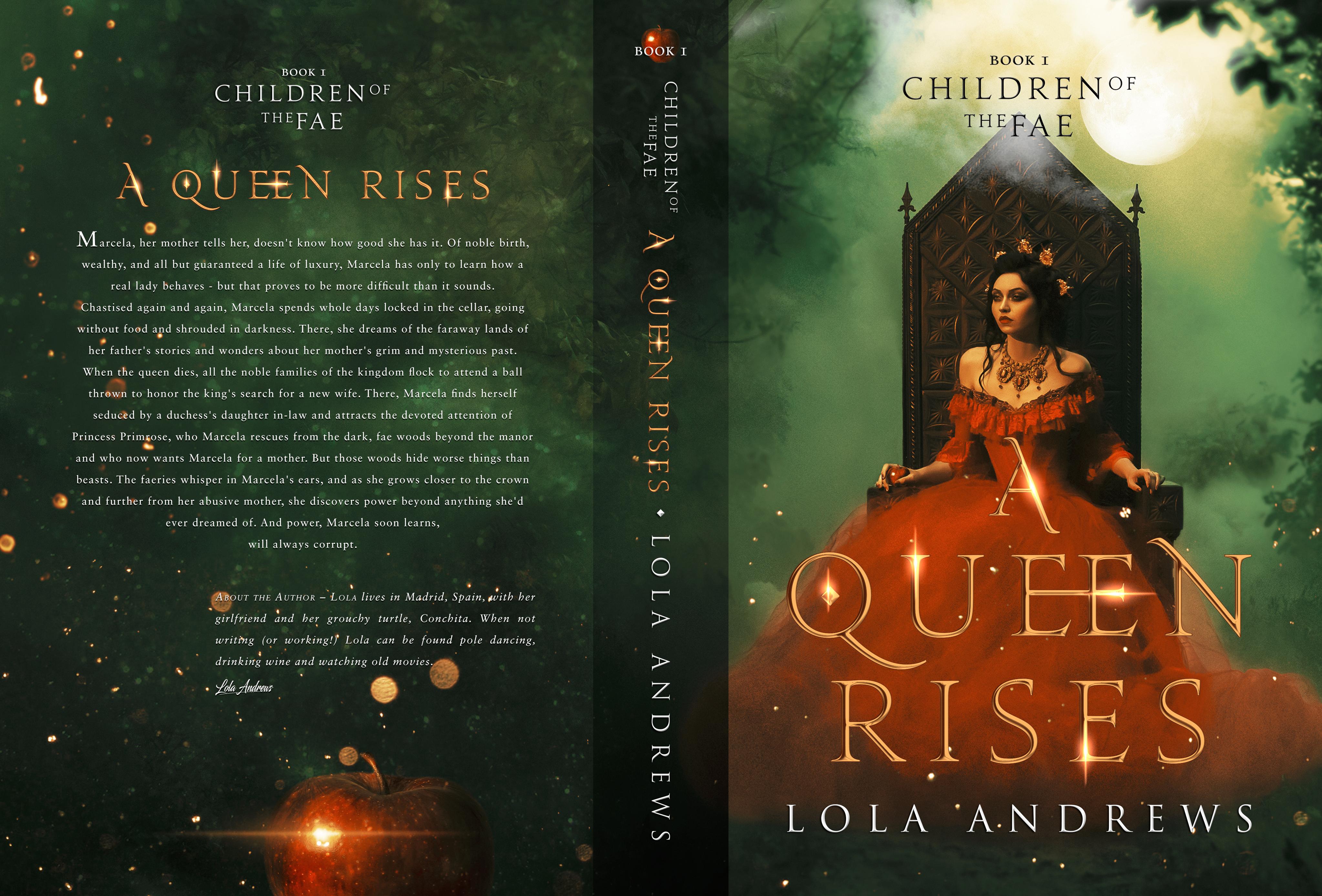 "Book cover for LGBT fantasy novel ""A Queen Rises"""