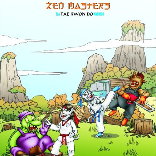 Karate Inspired Coloring Book Illustration for Kids!