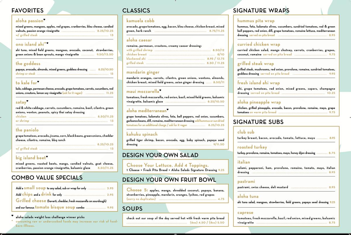 54 by 36 inches Aloha Salads menu