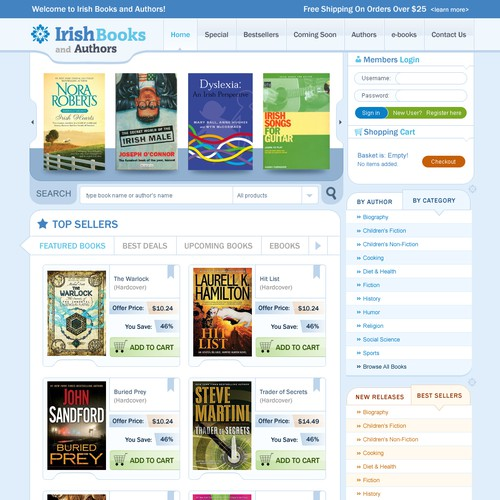 Create the next website design for Irish Books and Authors