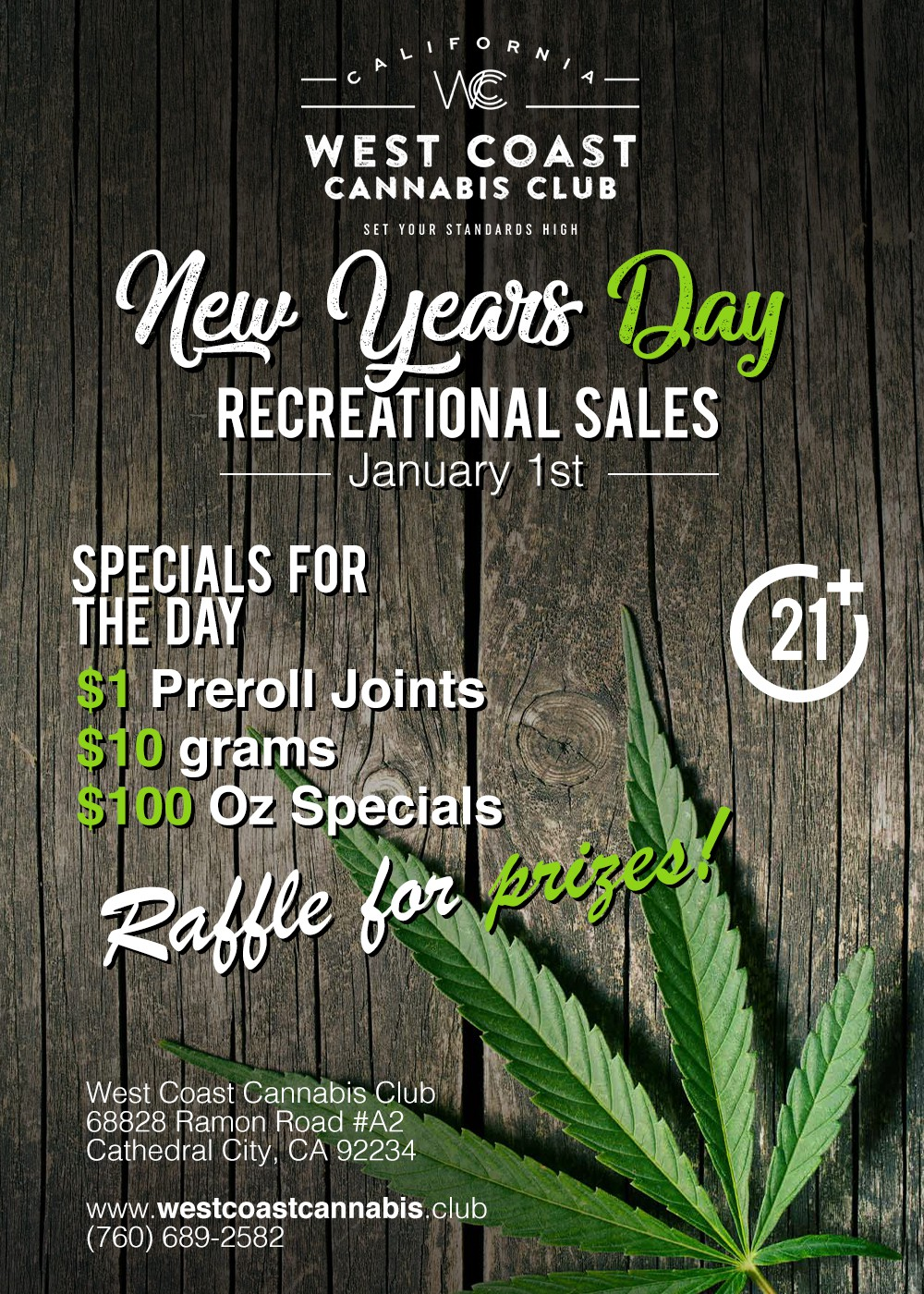 FLYER for a Cannabis Dispensary who begins recreational sales on New Years Day!