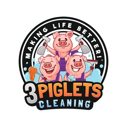 3 Piglets Cleaning