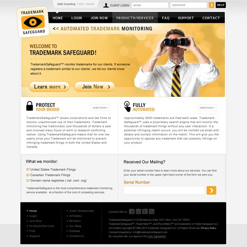 website design for Trademark Safeguard